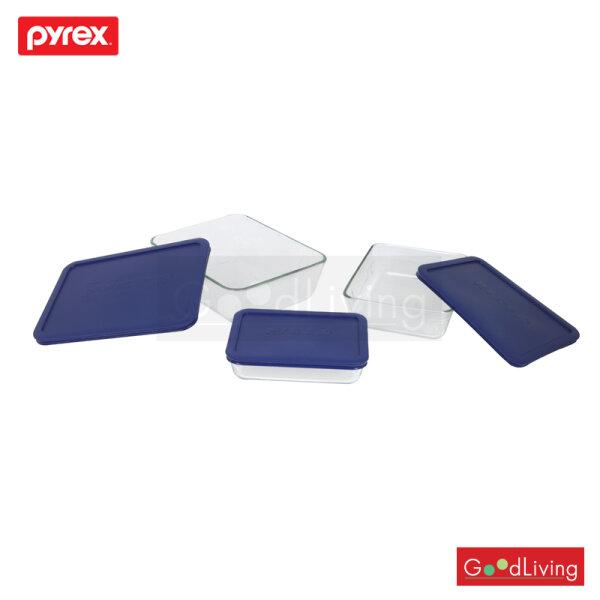 Pyrex ชุดชามแก้วพร้อมฝาทรงเหลี่ยม P-00-7251-NN สีน้ำเงิน (6 ชิ้น )
