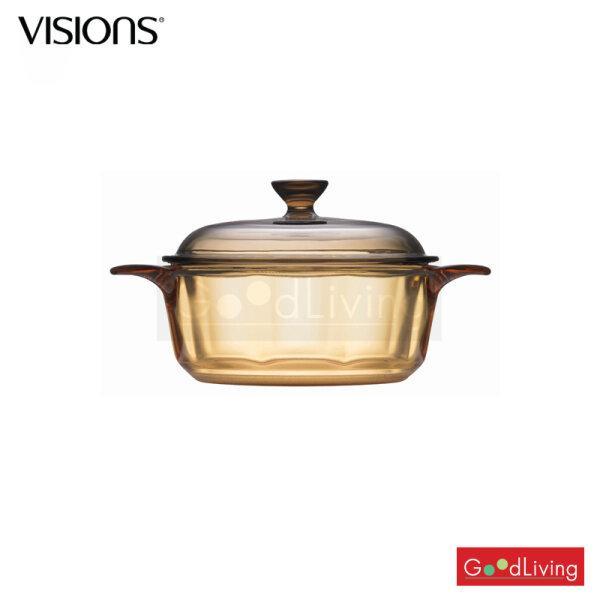 Visions หม้อแก้วทนไฟพร้อมฝา ขนาด 0.8 L./ V-01-VS 08/CL (สีชา)
