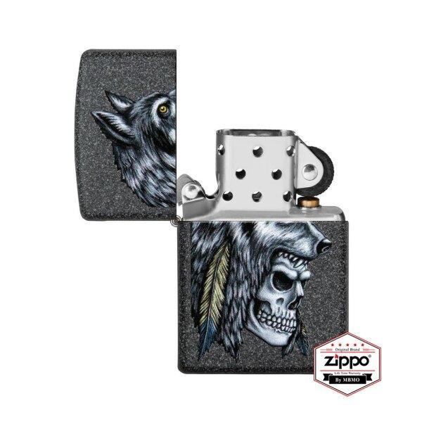 29863 Wolf Skull Feather Design (Iron Stone™)
