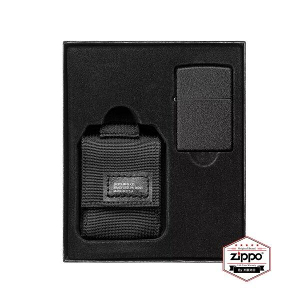 49402 Black Tactical Pouch and Black Crackle Windproof Lighter Gift Set