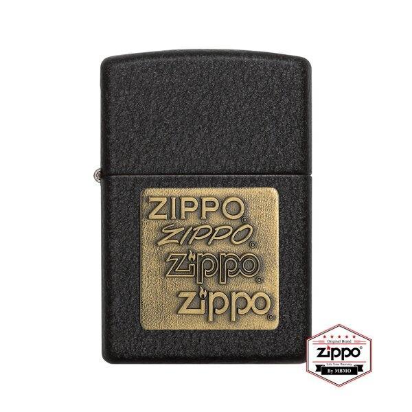 362 Black Crackle with Zippo Logo Brass Emblem