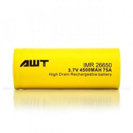 ถ่านชาร์จ AWT 26650 4500mAh 75A เหลือง [แท้]