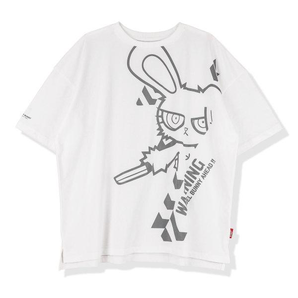 BLOODY BUNNY OVERSIZED T-SHIRT (PRINT-GRAY)