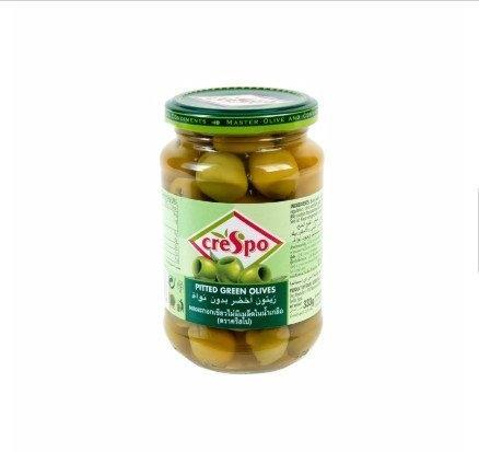 CRESTPO PITTED GREEN OLIVE 333 G*1 ครีสโป มะกอกเขียวไม่มีเมล็ด 333 กรัม