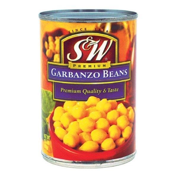 S&W Garbanzo Beans 439 g x1 can S&W ถั่วลูกไก่ 439 กรัม