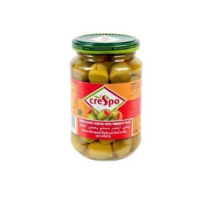 Crespo Green Olives Stuffed 354 g x 1 bottle ครีสโป มะกอกเขียวสอดไส้พริก 354 กรัม