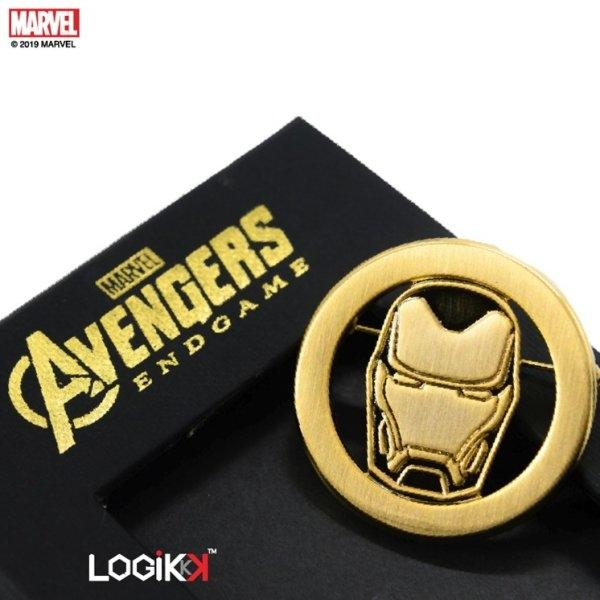 MARVEL, LOGIKKK, Avengers Endgame Brooch, Iron Man Logo, Premium Solid Brass, Gold