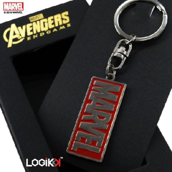 Avengers Endgame Keychain, MARVEL Logo, Premium Solid Brass, Silver and Red