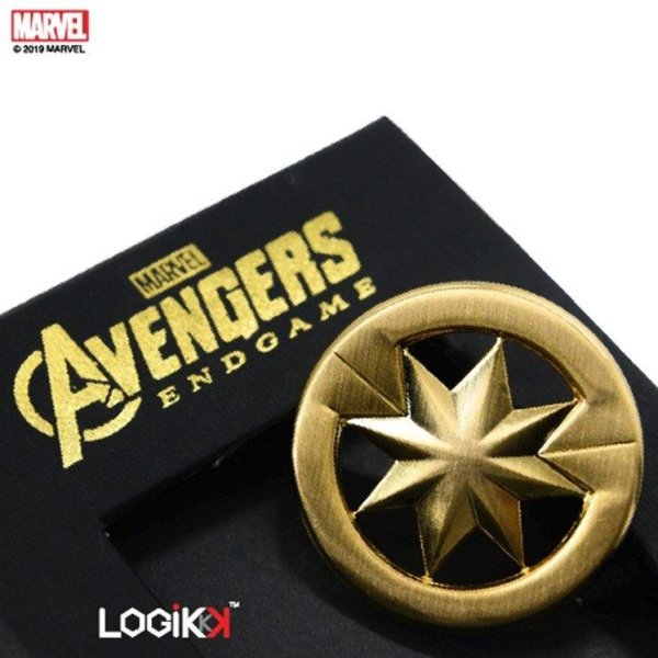 Avengers Endgame Brooch, Captain Marvel Logo, Premium Solid Brass, Gold