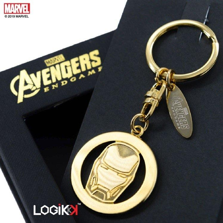 MARVEL, LOGIKKK, Avengers Endgame Keychain, Iron Man Logo, Premium Solid Brass, Gold, 35mm