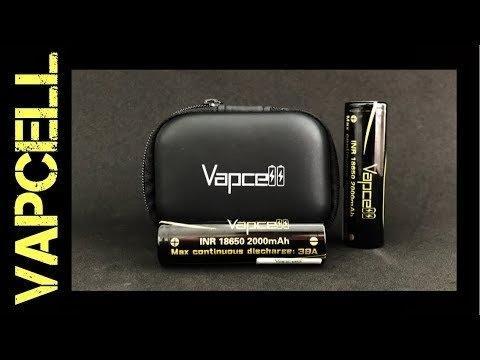 ถ่านชาร์จ Vapcell 18650 2000mAh 38A [แท้!] 2ก้อน พร้อมกระเป๋า