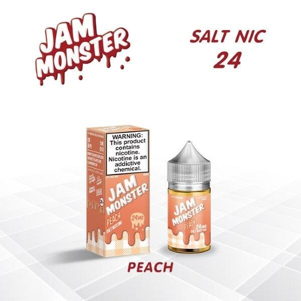 F [น้ำยา POD Salt Nic USA] Jam monster Peach 30ml Nic24 (ไม่เย็น)