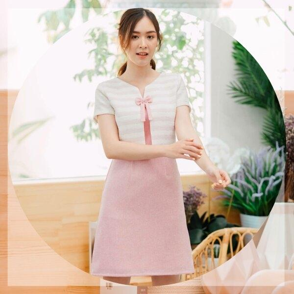 Malinda Bow Tweed Pink Dress