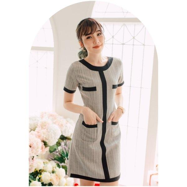 Olender Tweed Grey Pocket Dress