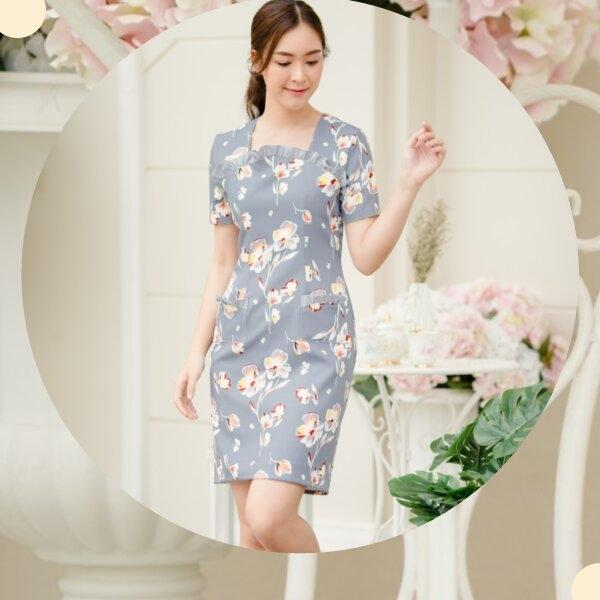 Ginny Pocket Grey Floral Dress