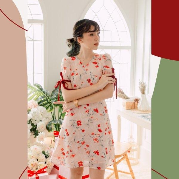 Rin Chiffon Ribbon Red Dress