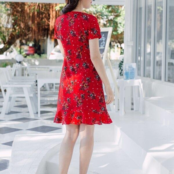 Andrea Collar Red Dress