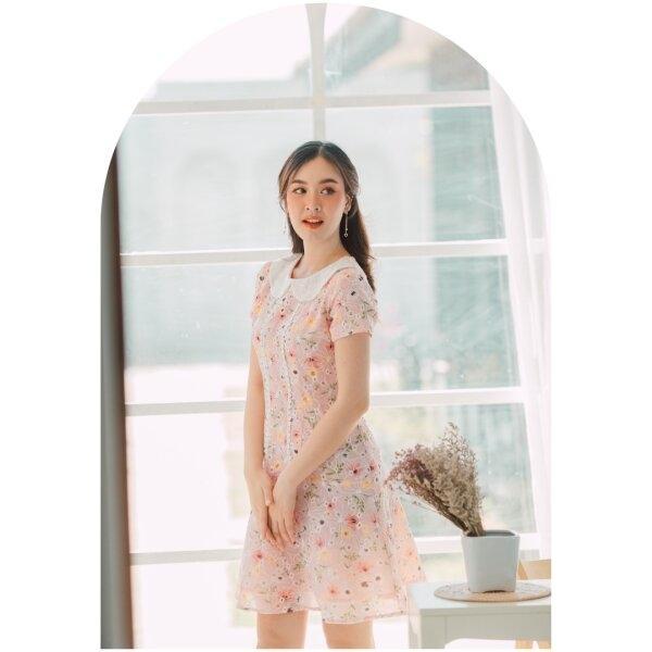 Olivia Lace Floral Pink Dress