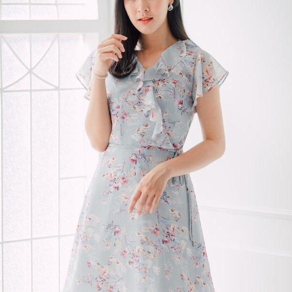 Aleeza Blue Floral Dress