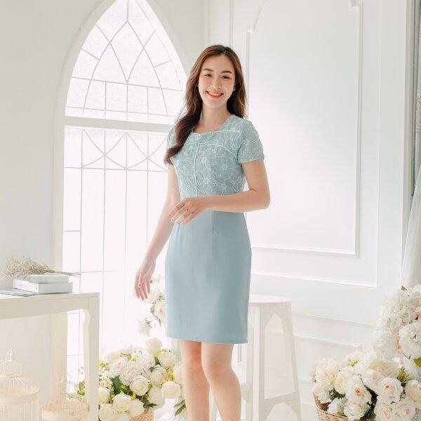 Malinda Cotton Lace Blue Dress