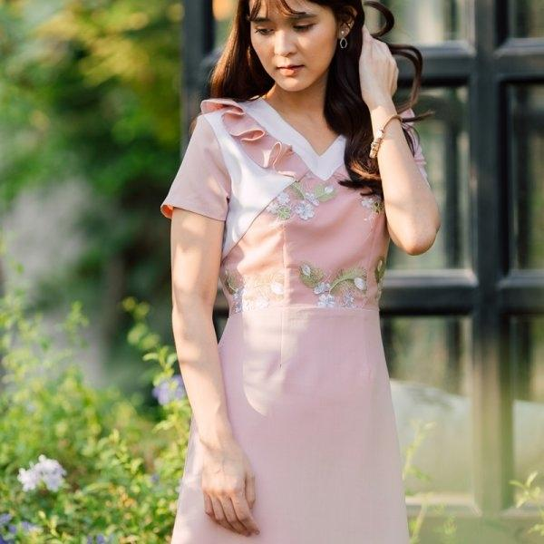 secret bella ruffle dress (สีชมพู)