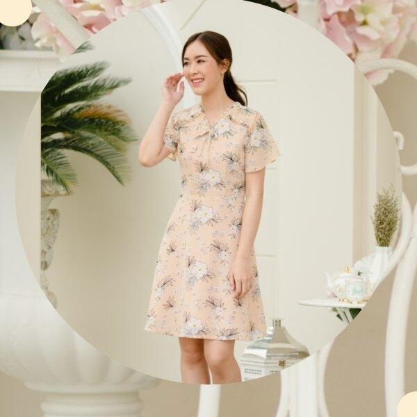 Nora Ribbon Chiffon Dress