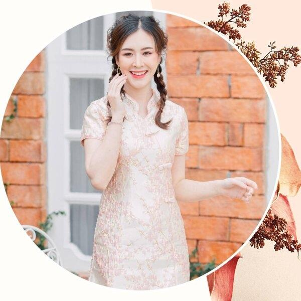 Mandarin Collar Floral Pink Dress