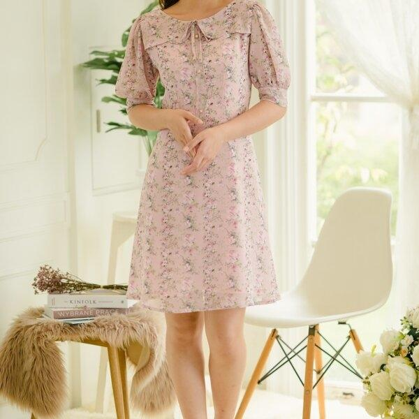 Yami Doll Sleeve Chiffon Dress