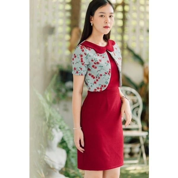 Nicole Collar Curved Dress