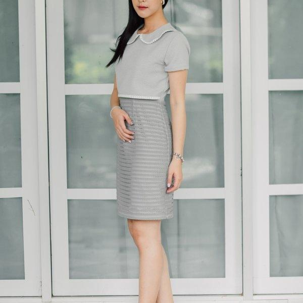 Ellen Grey Collar Dress
