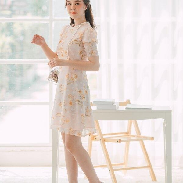 Ailyn Lace Tape Chiffon Dress