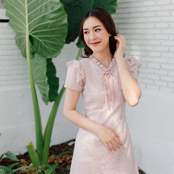 Olender Ribbon Lace Pink Dress