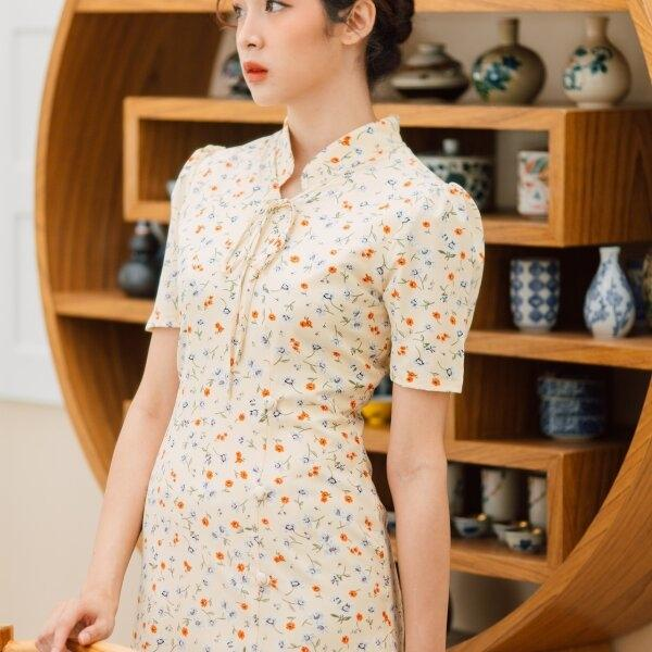 Mandarin Collar Ribbon Neck Dress