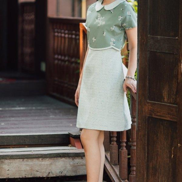 Yara Collar Tweed Dress
