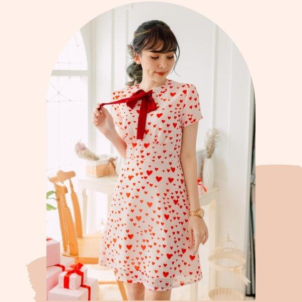 Mami Heart Print Chiffon Dress
