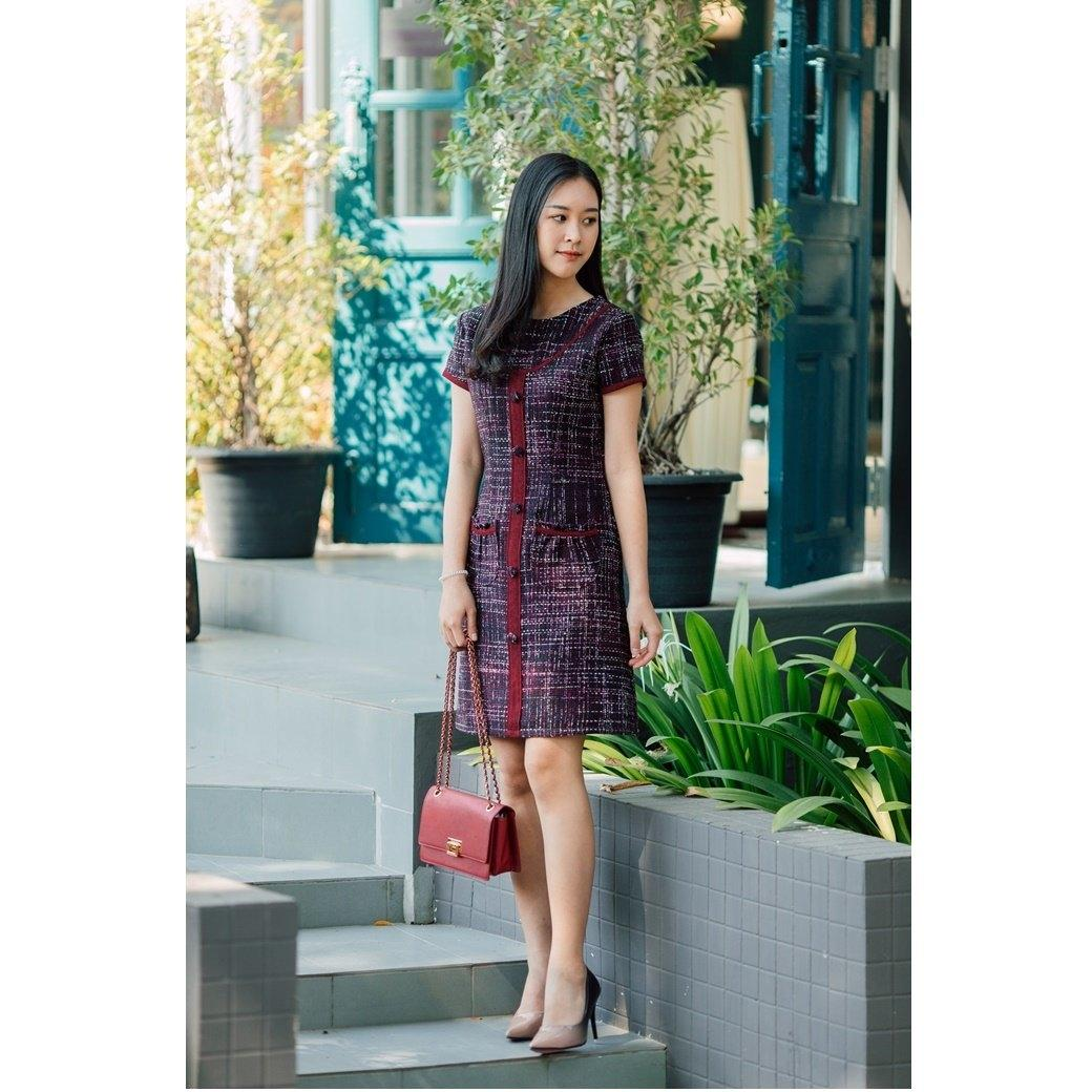 Olender Tweed Red Dress