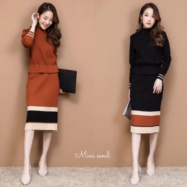 Knit Top & Skirt Set [MRS-00200]
