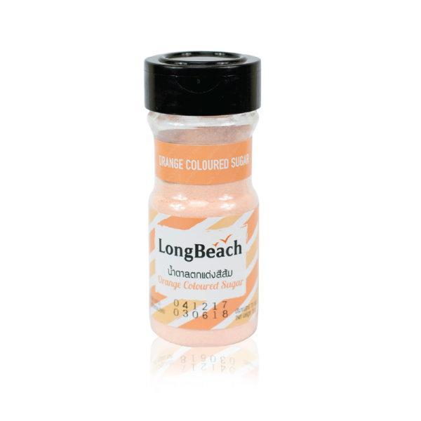 ลองบีชน้ำตาลสีตกแต่ง สีส้ม ขนาด 73 กรัม (LongBeach Coloured Sugar)
