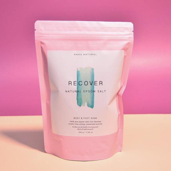 Recover Pure Natural Epsom Salt 500 g. ดีเกลือฝรั่ง เกลือแช่ตัว เกลือแช่เท้า ธรรมชาติ 100%  จากประเทศเยอรมัน