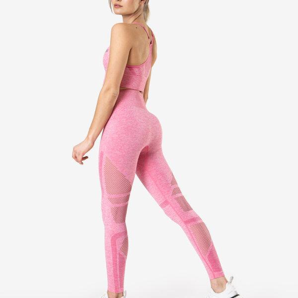 Queen Mesh Tights Rose Pink Melange Wmn