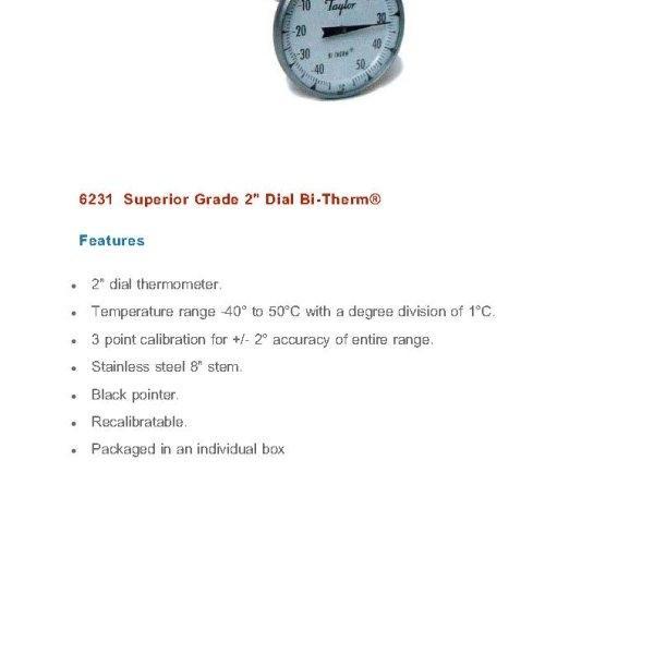 วัดอุณหภูมิ Taylor Dial Thermometer รุ่น 6231