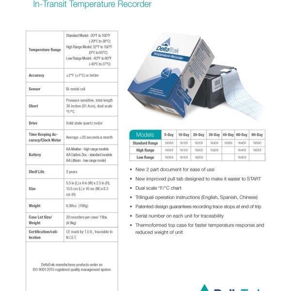 กระดาษบันทึกอุณหภูมิ Delta Trak In-Transit Temperature Recorder รุ่น 16200