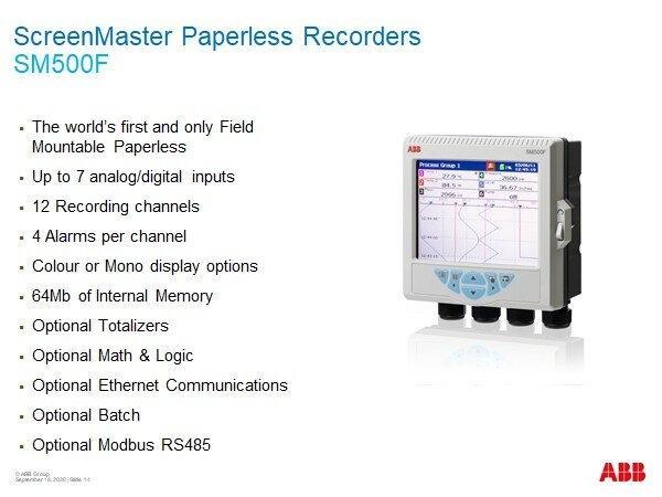 SM500F paperless recorder