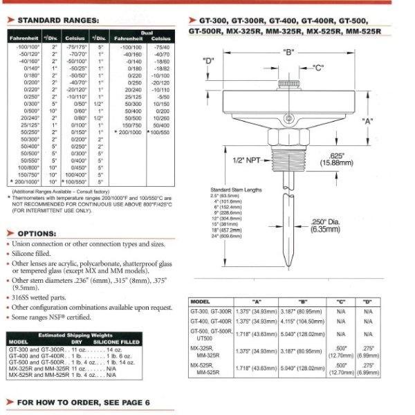 Tel-Tru Bimetal Thermometer รุ่น GT400R 4810-04-78