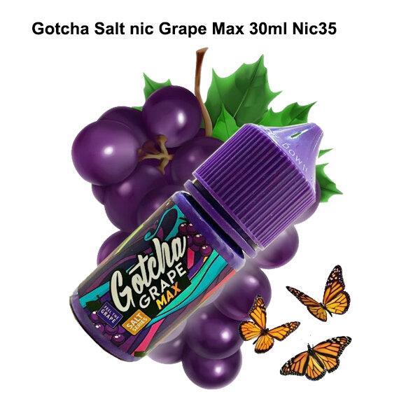 F น้ำยาบุหรี่ไฟฟ้า Gotcha Grape max SALT NIC 30ml นิค35 เย็น