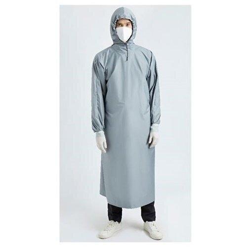 เพื่อทันตแพทย์ 1.2  ชุดคลุมกันน้ำแบบมีหมวก สีเทา MG01 12 GY