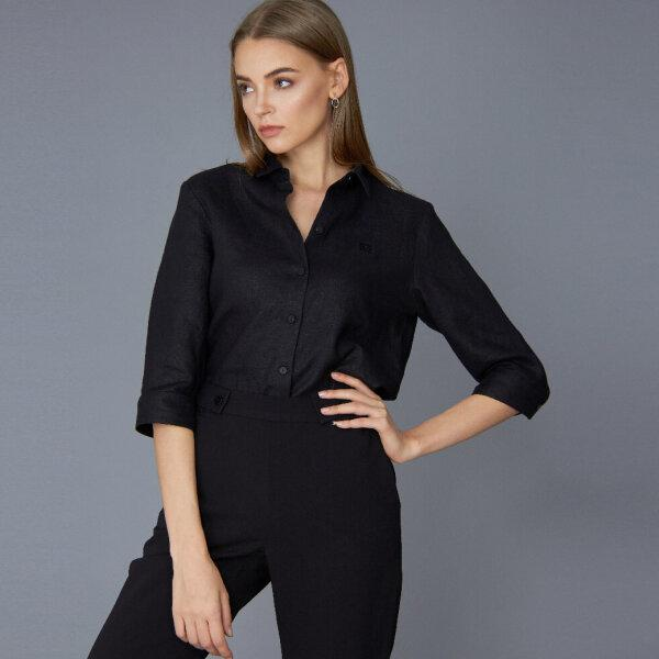 Guy Laeoche Organic Linen Black Shirt เชิ้ตลินิน เชิ้ตสีดำ เชิ้ตแขนสามส่วน กีลาโรช GWIVBL
