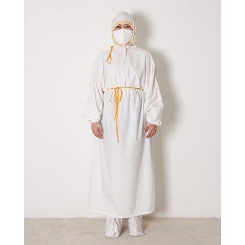 เพื่อทันตแพทย์ 1.2  ชุดคลุมกันน้ำแบบมีหมวก สีขาว กุ๊นเหลือง MG01 12 WHYE