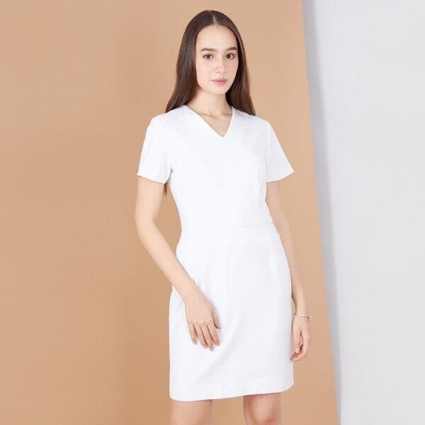 Jousse Dress ชุดเดรสทำงานสีขาว คอวีแขนสั้น ทรงสอบ ความยาวสุภาพ JV26WH