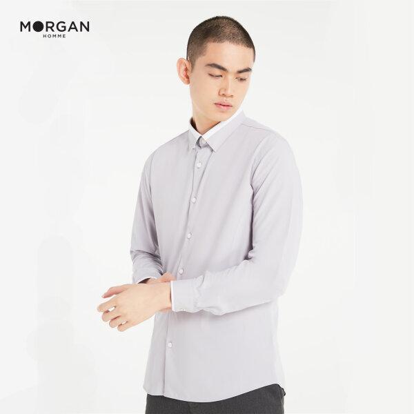 (Pre-order) Morgan Homme เสื้อเชิ้ตผู้ชายแขนยาว ทรง Slim ตัดต่อปก ผ้า bamboo รุ่น SUI